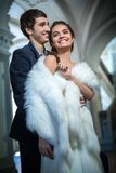 Portrait of happy wedding couple in classic Royalty Free Stock Photo