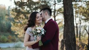 Portrait of happy wedding love story of beautiful young couple. Kisses and caresses in golden and sunny autumn park. 4K stock video footage