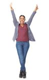 Portrait of a happy woman with arms raised Stock Image