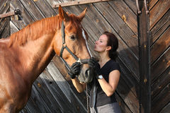 Portrait of happy woman and brown horse Royalty Free Stock Photography