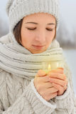 Portrait of happy woman with candle Stock Images