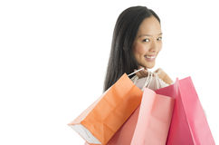 Portrait Of Happy Woman Carrying Shopping Bags Royalty Free Stock Photo