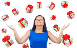 Portrait of Happy Woman Celebrates Success under a Gift Boxes Ra stock images