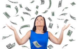 Portrait of Happy Woman Celebrates Success under a Money Rain Fa Royalty Free Stock Image