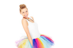 Portrait of a happy woman in a colourful skirt Stock Photos