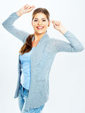 Portrait of happy woman dancing against white background Stock Photo
