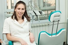 Portrait of happy woman dentist Royalty Free Stock Photography