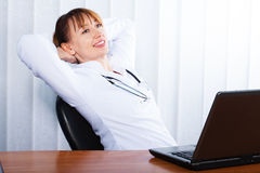 Portrait of happy woman doctor Stock Photography