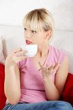 Portrait happy woman drinking coffee Stock Images