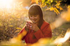Portrait of happy woman drinking hot tea at autumn park Royalty Free Stock Photography