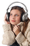 Portrait of happy woman enjoying music Stock Images