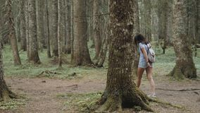 Portrait of a Happy Woman In Forest, Girl Enjoy Wood, Tourist With Backpack In National Park, Travel Lifestyle stock footage