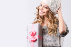 Portrait happy woman with gift box in hands. Royalty Free Stock Photos
