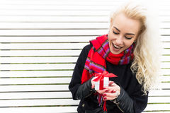 Portrait Happy Woman with Gift Box. Winter Concept Royalty Free Stock Photo