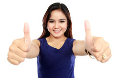 Portrait of happy woman give you two thumb up Royalty Free Stock Photography