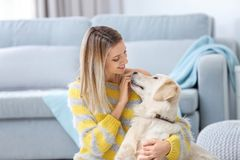 Portrait of happy woman with her dog. At home Stock Image