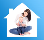 Portrait of happy woman with her little son in blue house isolat Stock Images