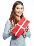 Portrait of happy woman hold gift box. Isolated white backgroun Royalty Free Stock Photos
