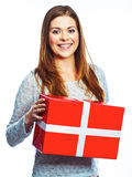 Portrait of happy woman hold gift box. Isolated white backgroun Royalty Free Stock Images