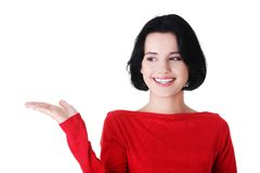 Portrait of happy woman holding a copyspace Royalty Free Stock Images