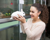Portrait of happy woman holding fluffy rabbit Stock Image