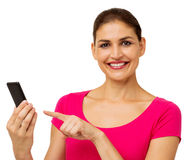 Portrait Of Happy Woman Holding Smart Phone Stock Images
