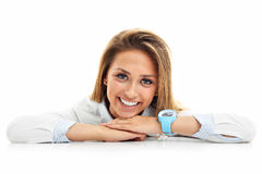 Portrait of happy woman isolated over white background Stock Images
