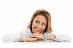 Portrait of happy woman isolated over white background Stock Photography