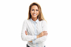 Portrait of happy woman isolated over white background Stock Photo