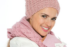 Portrait of happy woman in knit winter clothing Royalty Free Stock Image