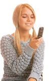 Portrait of happy woman with mobile phone Royalty Free Stock Photo