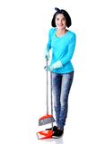 Portrait of happy woman with a mop Stock Image