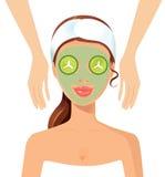 Portrait of happy woman receiving face massage at salon spa conc. Ept eps 10 Stock Photos