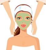 Portrait of happy woman receiving face massage at salon spa conc. Ept eps 10 Stock Image