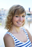 Portrait of a happy woman on a river Stock Images