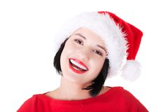 Portrait of happy woman in santa clothes Royalty Free Stock Photos