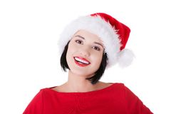 Portrait of happy woman in santa clothes Stock Images