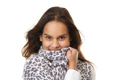 Portrait of a happy woman with scarf covering face Royalty Free Stock Photography