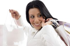 Portrait of happy woman shopping bags Royalty Free Stock Image