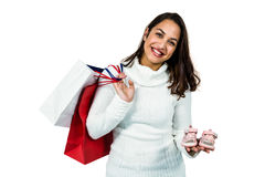 Portrait of happy woman with shopping bags and footwear Stock Photo