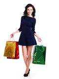 Portrait of happy woman with shopping bags. Stock Image