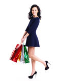 Portrait of happy woman with shopping bags. Stock Images
