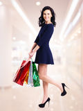 Portrait of happy woman with shopping bags. Royalty Free Stock Photo