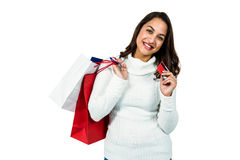 Portrait of happy woman with shopping bags and payment card Stock Image