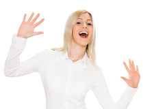 Portrait of happy woman showing ten fingers Stock Photo