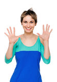Portrait of happy woman showing ten fingers Royalty Free Stock Photography