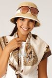 Portrait of happy woman at summertime Royalty Free Stock Image