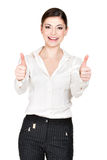 Portrait of a  woman with thumbs up sign Stock Photo
