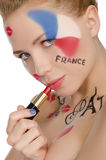 Portrait of happy woman to French theme royalty free stock photos