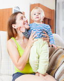 Portrait of happy woman with toddler Stock Image